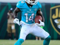 JACKSONVILLE, FL - SEPTEMBER 20:  Jarvis Landry #14 of the Miami Dolphins runs for yardage during the game against the Jacksonville Jaguars at EverBank Field on September 20, 2015 in Jacksonville, Florida.  (Photo by Sam Greenwood/Getty Images)