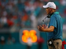 MIAMI GARDENS, FL - SEPTEMBER 27: Head coach Joe Philbin of the Miami Dolphins reacts during the game against the Buffalo Bills at Sun Life Stadium on September 27, 2015 in Miami Gardens, Florida.  (Photo by Rob Foldy/Getty Images)