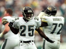 12 Sep 1999:  Fernando Bryant #25 of the Jacksonville Jaguars celebrates during the game against the San Francisco 49ers at the Alltell Stadium in Jacksonville, Florida. The Jaguars defeated the 49ers 41-3. Mandatory Credit: Andy Lyons  /Allsport