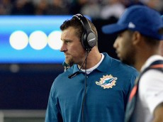 FOXBORO, MA - OCTOBER 29:  Head coach Dan Campbell of the Miami Dolphins reacts during the third quarter against the New England Patriots at Gillette Stadium on October 29, 2015 in Foxboro, Massachusetts.  (Photo by Darren McCollester/Getty Images)
