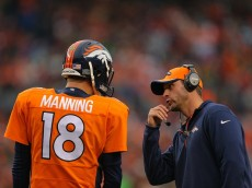 DENVER, CO - NOVEMBER 23:  Denver Broncos offensive coordinator Adam Gase has a word with Quarterback Peyton Manning #18 during a game at Sports Authority Field at Mile High on November 23, 2014 in Denver, Colorado.  (Photo by Justin Edmonds/Getty Images)