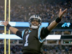 CHARLOTTE, NC - JANUARY 03:  Cam Newton #1 of the Carolina Panthers reacts after a 4th quarter touchdown against the Tampa Bay Buccaneers  during their game at Bank of America Stadium on January 3, 2016 in Charlotte, North Carolina.  (Photo by Streeter Lecka/Getty Images)