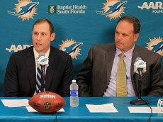 DAVIE, FL - JANUARY 09:  The Miami Dolphins  Executive vice president of football operations Mike Tannenbaum announce Adam Gase as their new head coach at Sunlife Stadium on January 9, 2016 in Davie, Florida.  (Photo by Mike Ehrmann/Getty Images)