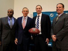 DAVIE, FL - JANUARY 09:  The Miami Dolphins owner Stephen Ross and Executive vice president of football operations Mike Tannenbaum announce Adam Gase as their new head coach at Sunlife Stadium on January 9, 2016 in Davie, Florida.  (Photo by Mike Ehrmann/Getty Images)