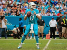 MIAMI GARDENS, FL - JANUARY 03:  Ryan Tannehill #17 of the Miami Dolphins in action during the second half of the game against the New England Patriots at Sun Life Stadium on January 3, 2016 in Miami Gardens, Florida.  (Photo by Mike Ehrmann/Getty Images)