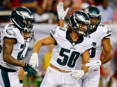 ATLANTA, GA - SEPTEMBER 14: Kiko Alonso #50 of the Philadelphia Eagles celebrates with teammates after an interception during the first half against the Atlanta Falcons at the Georgia Dome on September 14, 2015 in Atlanta, Georgia.  (Photo by Kevin C. Cox/Getty Images)