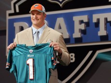 NEW YORK - APRIL 26:  Jake Long poses for a photo after being taken as the fisrt overall draft pick by the Miami Dolphins during the 2008 NFL Draft on April 26, 2008 at Radio City Music Hall in April 26, 2008 in New York City.  (Photo by Jim McIsaac/Getty Images)