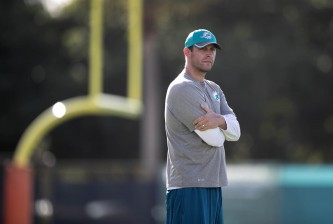 Miami Dolphins head coach Adam Gase at Miami Dolphins training camp in Davie, Florida on July 30, 2016. (Allen Eyestone / The Palm Beach Post)