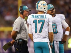 EAST RUTHERFORD, NJ - AUGUST 12: Head coach Adam Gase of the Miami Dolphins talks with quarterbacks Ryan Tannehill #17 and Matt Moore #8 during the first half of an NFL preseason game against the New York Giants at MetLife Stadium on August 12, 2016 in East Rutherford, New Jersey. The Dolphins defeated the Giants 27-10. (Photo by Rich Schultz/Getty Images)