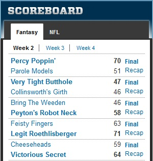 pjd fantasy football wk2 2012 recap