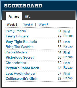 pjd fantasy league 2012 wk5 results