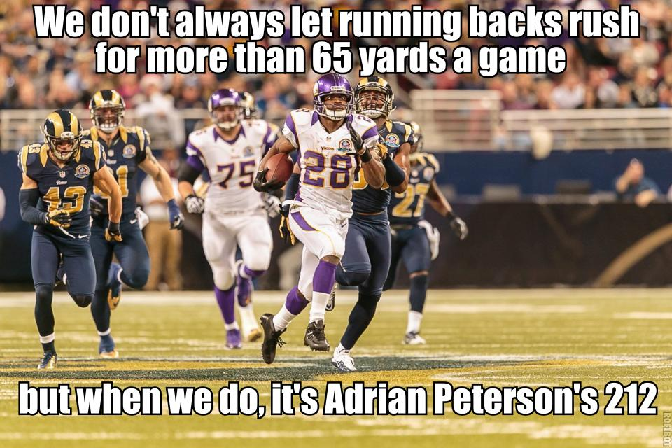 Adrian Peterson runs versus Ras