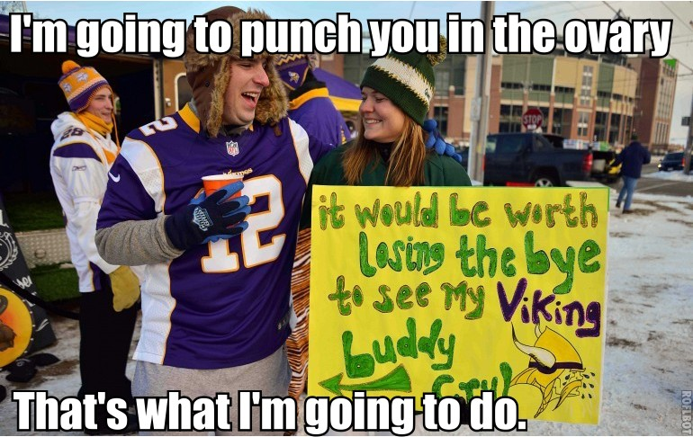 Vikings fan Punch Packers fan