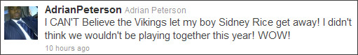 adrian peterson sidney rice tweet