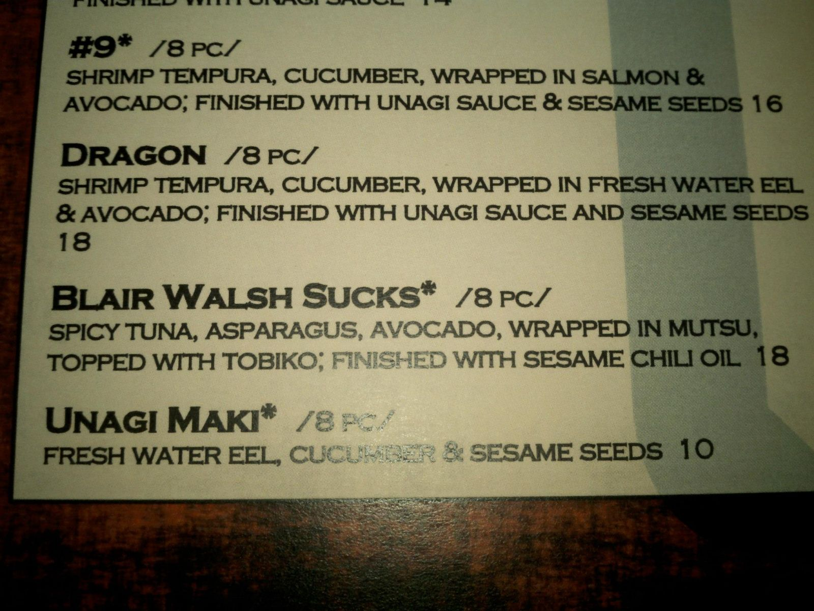 Blair Walsh Sucks Sushi Menu