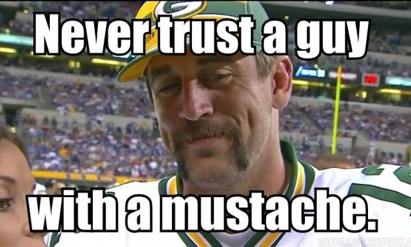 aaron rodgers murder mustache meme