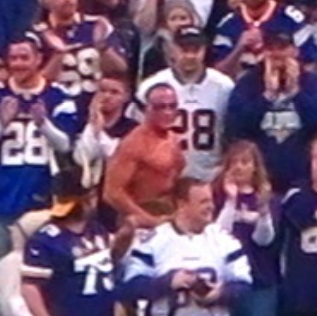Shirtless Vikings fan