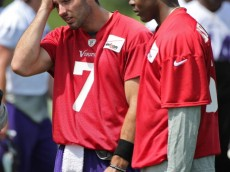 EDEN PRAIRIE, MN - JUNE 18: Christian Ponder #7 and Teddy Bridgewater #5 of the Minnesota Vikings during a break at the Winter Park training facility on June 18, 2014 in Eden Prairie, Minnesota. (Photo by Tom Dahlin/Getty Images)