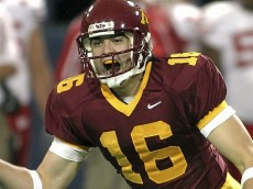 Minnesota kicker Rhys Lloyd celebrates after kicking a 35-yard field goal in the last second to beat Wisconsin 37-34 at the Metrodome in Minneapolis on Saturday, November 8, 2003.  (Pioneer Press: Scott Cohen)