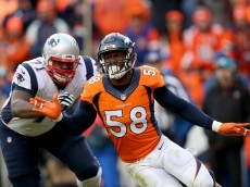 DENVER, CO - JANUARY 24:  Von Miller #58 of the Denver Broncos rushes against Cameron Fleming #71 of the New England Patriots in the second half in the AFC Championship game at Sports Authority Field at Mile High on January 24, 2016 in Denver, Colorado.  (Photo by Doug Pensinger/Getty Images)