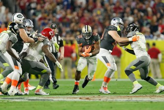 GLENDALE, AZ - JANUARY 25: Team Irvin running back Mark Ingram #22 of the New Orleans Saints breaks up field during the second half of the 2015 Pro Bowl at University of Phoenix Stadium on January 25, 2015 in Glendale, Arizona.  (Photo by Christian Petersen/Getty Images)