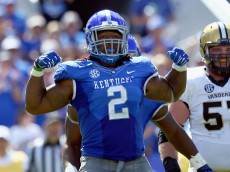 LEXINGTON, KY - SEPTEMBER 27:  Alvin Dupree #2 of the Kentucky Wildcats celebrates after a sack during the game against the Vanderbilt Commodores at Commonwealth Stadium on September 27, 2014 in Lexington, Kentucky.  (Photo by Andy Lyons/Getty Images)