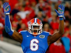 JACKSONVILLE, FL - NOVEMBER 01:  Dante Fowler #6 of the Florida Gators asks the crowd for noise during the game against the Georgia Bulldogs at EverBank Field on November 1, 2014 in Jacksonville, Florida.  (Photo by Sam Greenwood/Getty Images)