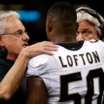 NEW ORLEANS, LA - SEPTEMBER 22:  (L-R0 Assistant coach Joe Vitt,  Curtis Lofton #50, and Defensive Coordinator Rob Ryan of the New Orleans Saints talk on the sidelines during the game against the Arizona Cardinals at the Mercedes-Benz Superdome on September 22, 2013 in New Orleans, Louisiana.  (Photo by Chris Graythen/Getty Images)