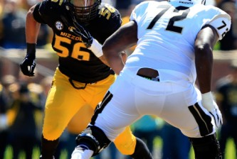 COLUMBIA, MO - SEPTEMBER 13:  Defensive lineman Shane Ray #56 of the Missouri Tigers rushes as offensive linesman Torrian Wilson #72 of the UCF Knights tries to block during the game at on September 13, 2014 at Faurot Field in Columbia, Missouri.  (Photo by Jamie Squire/Getty Images)