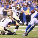 INDIANAPOLIS, IN - AUGUST 23: Shayne Graham #3 of the New Orleans Saints kicks a field goal during the game against the Indianapolis Colts during the exhibition game at Lucas Oil Stadium on August 23, 2014 in Indianapolis, Indiana.  (Photo by Andy Lyons/Getty Images)