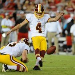 TAMPA, FL - AUGUST 28: Kicker Zach Hocker #4 of the Washington Redskins kicks a field goal against the Tampa Bay Buccaneers at Raymond James Stadium on August 28, 2014 in Tampa, Florida. (Photo by Cliff McBride/Getty Images)