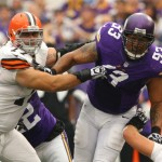 MINNEAPOLIS, MN - SEPTEMBER 22:  John Greco #77 of the Cleveland Browns puts the pressure on Kevin Williams #93 of the Minnesota Vikings on September 22, 2013 at Mall of America Field at the Hubert Humphrey Metrodome in Minneapolis, Minnesota. (Photo by Adam Bettcher/Getty Images)