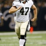 NEW ORLEANS, LA - AUGUST 17:   Justin Drescher #47 of the New Orleans Saints during the game against the Jacksonville Jaguars at the Mercedes-Benz Superdome on August 17, 2012 in New Orleans, Louisiana.  (Photo by Chris Graythen/Getty Images)