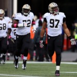 FOXBORO, MA - OCTOBER 13:  Defensive end Glenn Foster #97 of the New Orleans Saints takes the field before the start of the Saints and New England Patriots game at Gillette Stadium on October 13, 2013 in Foxboro, Massachusetts.  (Photo by Rob Carr/Getty Images)