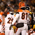 PITTSBURGH, PA - DECEMBER 15: Gio Bernard #25 of the Cincinnati Bengals celebrates a second quarter touchdown run with Alex Smith #81 while playing the Pittsburgh Steelers at Heinz Field on December 15, 2013 in Pittsburgh, Pennsylvania.  (Photo by Gregory Shamus/Getty Images)