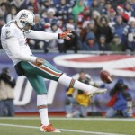 FOXBORO, MA - DECEMBER 24: Brandon Fields #2 of the Miami Dolphins punts during the second half of New England's 27-24 win at Gillette Stadium on December 24, 2011 in Foxboro, Massachusetts.  (Photo by Winslow Townson/Getty Images)