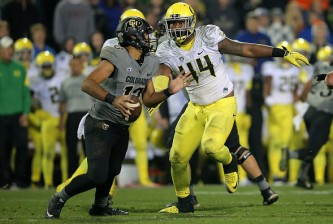 at Folsom Field on October 3, 2015 in Boulder, Colorado. The Ducks defeated the Buffs 41-24.