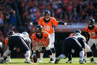 DENVER, CO - JANUARY 24:  Peyton Manning #18 of the Denver Broncos gestures at the line of scrimmage in the first quarter against the New England Patriots in the AFC Championship game at Sports Authority Field at Mile High on January 24, 2016 in Denver, Colorado.  (Photo by Dustin Bradford/Getty Images)