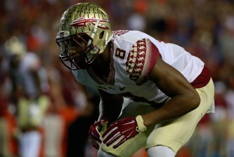 Nov 28, 2015; Gainesville, FL, USA; Florida State Seminoles defensive back Jalen Ramsey (8) against the Florida Gators during the first quarter at Ben Hill Griffin Stadium. Mandatory Credit: Kim Klement-USA TODAY Sports