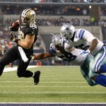 Sep 28, 2014; Arlington, TX, USA; New Orleans Saints tight end Josh Hill (89) scores a touchdown in the game against the Dallas Cowboys at AT&T Stadium. Dallas beat New Orleans 38-17. Mandatory Credit: Tim Heitman-USA TODAY Sports