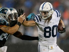 CHARLOTTE, NC - NOVEMBER 02:   Coby Fleener #80 of the Indianapolis Colts runs with the ball against the Carolina Panthers during their game at Bank of America Stadium on November 2, 2015 in Charlotte, North Carolina.  (Photo by Streeter Lecka/Getty Images)