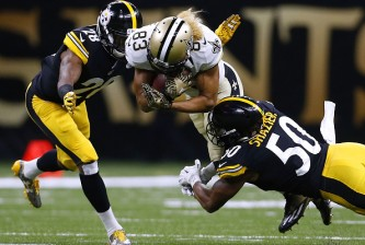 NEW ORLEANS, LA - AUGUST 26: Willie Snead #83 of the New Orleans Saints is tackled by Ryan Shazier #50 of the Pittsburgh Steelers and Cortez Allen #28 during the first half of a game at the Mercedes-Benz Superdome on August 26, 2016 in New Orleans, Louisiana.  (Photo by Jonathan Bachman/Getty Images)