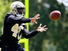 Jun 16, 2016; New Orleans, LA, USA; New Orleans Saints cornerback Delvin Breaux (40) during the final day of minicamp at the New Orleans Saints Training Facility. Mandatory Credit: Derick E. Hingle-USA TODAY Sports