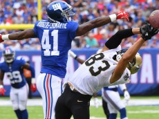 Sep 18, 2016; East Rutherford, NJ, USA;  New Orleans Saints wide receiver Willie Snead (83) reaches for a pass as New York Giants cornerback Dominique Rodgers-Cromartie (41) defends during the second quarter at MetLife Stadium. Mandatory Credit: Robert Deutsch-USA TODAY Sports