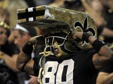 A New Orleans Saints fan cheers in the first half of an NFL preseason football game in New Orleans, Saturday, Aug. 25, 2012. (AP Photo/Bill Feig)