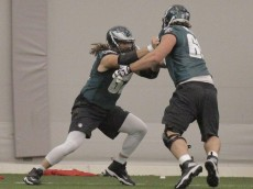 Jason Kelce (L) drills with Evan Mathis ...photo by Katie Tang of PE.com