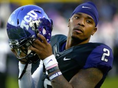 FORT WORTH, TX - OCTOBER 29:  Trevone Boykin #2 of the TCU Horned Frogs prepares to take the field against the West Virginia Mountaineers in the first quarter at Amon G. Carter Stadium on October 29, 2015 in Fort Worth, Texas.  (Photo by Tom Pennington/Getty Images)