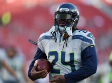 SANTA CLARA, CA - OCTOBER 22:  Marshawn Lynch #24 of the Seattle Seahawks warms up prior to playing the San Francisco 49ers in their NFL game at Levi's Stadium on October 22, 2015 in Santa Clara, California.  (Photo by Thearon W. Henderson/Getty Images)