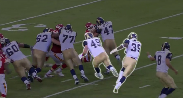 Brit Miller helps seal the inside on a 3rd-and-1 against KC