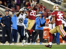 SANTA CLARA, CA - DECEMBER 20:  Perrish Cox #20 of the San Francisco 49ers intercepts a pass intended for Seyi Ajirotutu #16 of the San Diego Chargers in the first quarter at Levi's Stadium on December 20, 2014 in Santa Clara, California.  (Photo by Thearon W. Henderson/Getty Images)